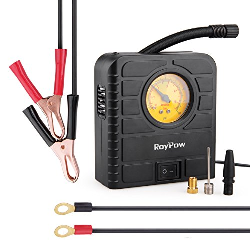 RoyPow I84 Mini 12V DC Tyre Inflator for Motorbike, ATV, Car Tire with Cigarette Lighter Socket Adapter Battery Alligator Clip and Ring Terminal Harness and Carring Case