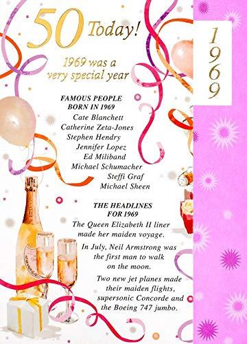 Tarjeta de felicitación para mujer, de Simon Elvin, con diseño de 50 cumpleaños en 2018 y texto en inglés «1968 was a special year», en color morado