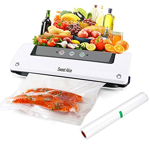 Vacuum Sealer, Automatic Food Sealer Machine Air Sealing System for Both Dried and Wet Fresh Food Saver and Preservation, Suitable for Home & Commercial Use with Vacuum Sealer Bags