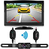 iStrong Backup Camera Wireless and Monitor Kit Waterproof License Plate Rear View Camera 9V-24V System 5 Display 7 LED IR Night Vision For Car /Vehicle/SUV/Van/Campe