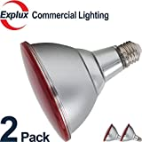 2-Pack Full-Glass Dimmable LED Red PAR38 LED Bulbs, 45,000 Hours, Indoor/Outdoor 12 Watts (90W Equivalent) LED PAR38 Light Bulbs, Flood Light, Red Color (Pack of 2)