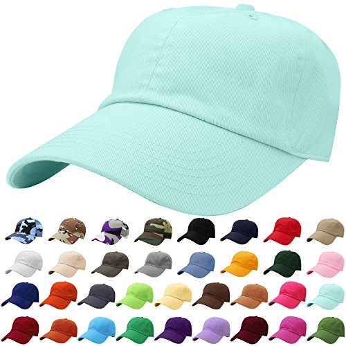 Falari Baseball Cap Hat 100% Cotton Adjustable Size Aqua Blue ()