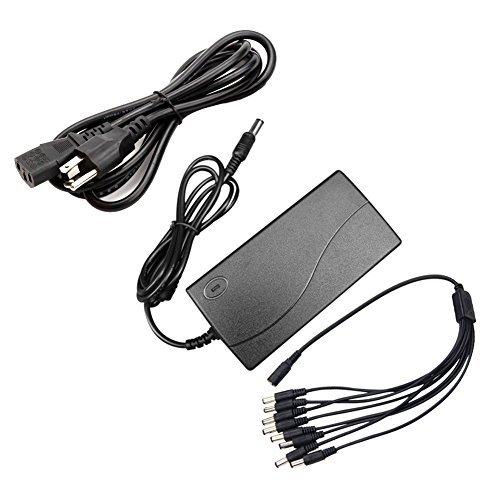Antoble Adaptador CA de fuente de poder de CC 12V 5A + cable de alimentación de 8 divisiones para sistema de vigilancia DVR...