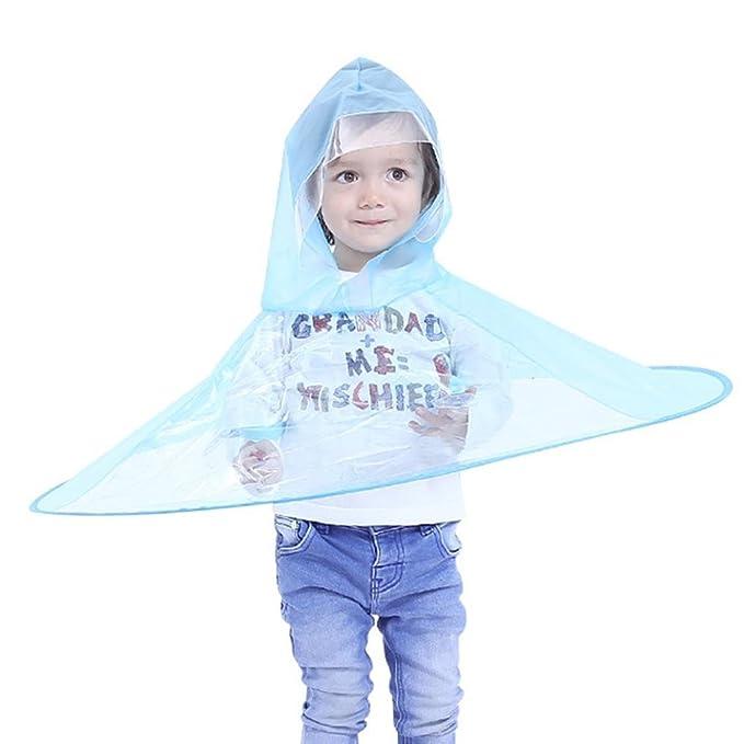 0590e745ad Oyedens Poncho Pioggia per Bambini, Impermeabile Universale per Ragazzi e  Ragazze/Berretto Ombrello per