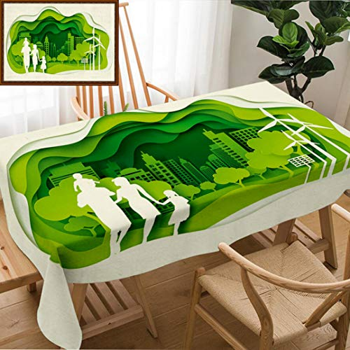 (Unique Custom Design Cotton And Linen Blend Tablecloth Paper Art Of Family And Park On Green Town Shape Origami Concept And Ecology Idea Art AndTablecovers For Rectangle Tables, Large Size 86