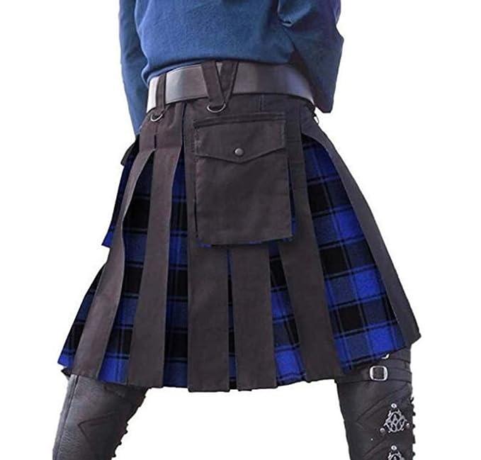 Hellomiko Vestido escocés de Vacaciones Kilts Utility para Hombres ...