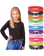 12 Pieces Kids Belt Adjustable Elastic Fashion Belt with Pin Buckle for Girls Kids, 12 Colors