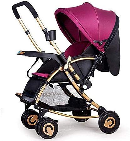 Moolo Cochecitos Cochecito de bebé, el Carro se Puede sentar Plegado Caballo Mecedora Ligero bidireccional de Cuatro Ruedas con Empuje