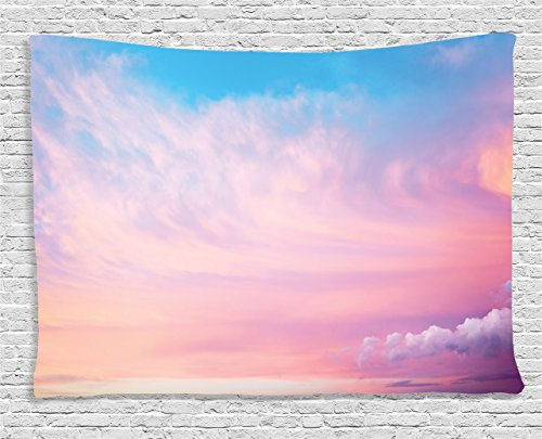Ambesonne Apartment Decor Collection, Mystical Sky with Fluffy Clouds Heavenly Inspirational Hope Pastel Colored Nature Theme, Bedroom Living Room Dorm Wall Hanging Tapestry, 80 X 60 Inches, Pink Blue ()