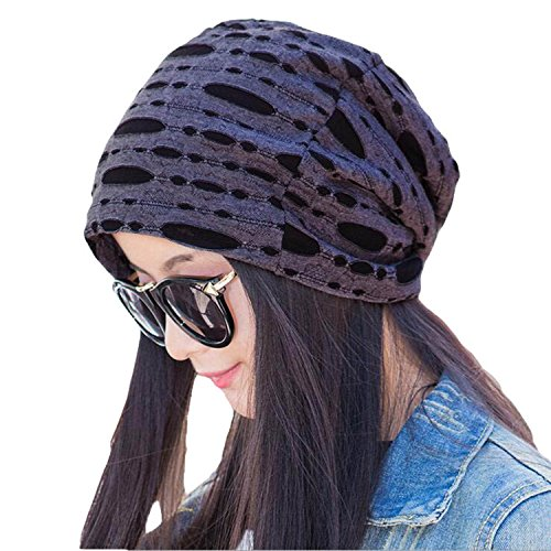 Century Star Women's Stylish Cotton Slouch Hollow Beanie Cap Slouchy Skull Hat Darkgrey Slouch Hat Cap