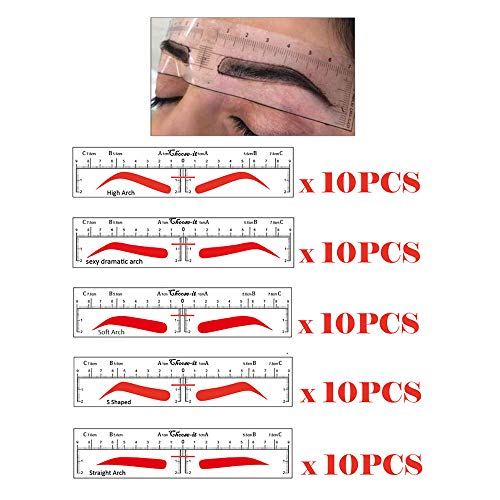 - CHOOSE-IT Microblading Ruler Sticker Eyebrow Shaping Stencils Microblading Supplies Disposable Adhesive Eyebrow Template Permanent Makeup Measure Tool 50Pcs Different Shapes(5 Shapes)