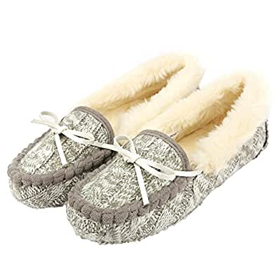 MOCCA BROWN Women's Moccasin Slippers Flat Loafer Driving Shoes/Memory Foam/Animal Embroi. Grey Size: 6