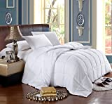 Soft, Light, Warm DOWN COMFORTER, 650 Fill Power, 100% Cotton Cover/Shell, 300 Threadcount, Solid White, King