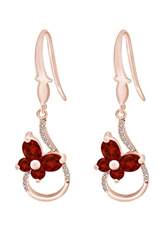 Amazon.com  Oval   Round Shape Simulated Garnet   White CZ Dangle Earring  In 14k Rose Gold Over Sterling Silver (2.84 cttw)  Jewelry 4724274bfe63