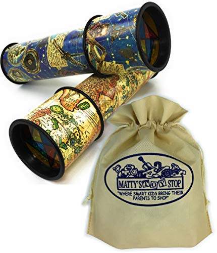 Old World Kaleidoscope - Toysmith Old World Astronomy & Map Kaleidoscopes Gift Set Bundle Bonus Matty's Toy Stop Storage Bag - 2 Pack