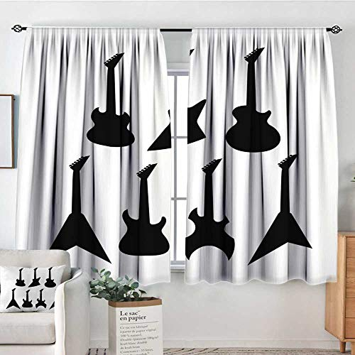 Elliot Dorothy Rod Pocket Drapes and Curtain Rock Music,Various Guitar Silhouettes Acoustic Electronic Bass Abstract String Instruments,Black White,Customized Curtains 42