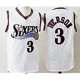 Mens Philadelphia 76ers Allen Iverson #3 Throwback Basketball Jersey White XXL