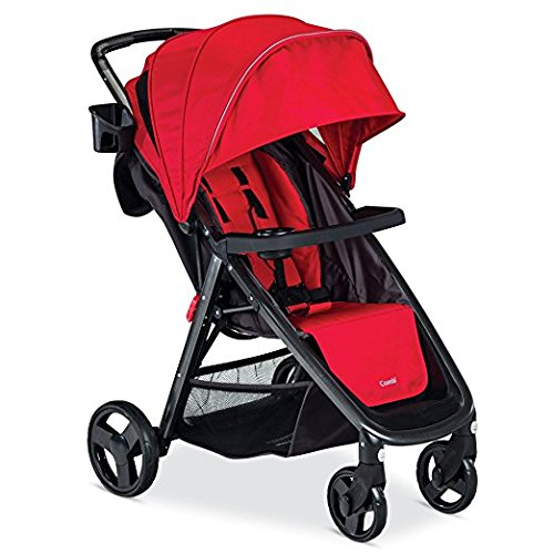 Combi Stroller Cover - Premium Baby Strollers For Lightweight Use (16.3 Pounds) With Infants, Toddlers And Kids, Easy Fold & Store, Salsa RED Color