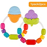 Vatos Teething Toy Multi-Texture Designed Silicone Teethers Set for Babies, Infant and Toddler Teethers BPA Free Top Rated Toys for 3rd Month Baby Development Teething Toys Grab Toys 1 Pack 2pcs