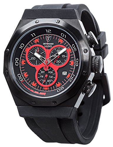 DeTomaso Lago Chronograph Men's Quartz Watch with Black Dial Analogue Display and Black Silicone Strap DT2025-C