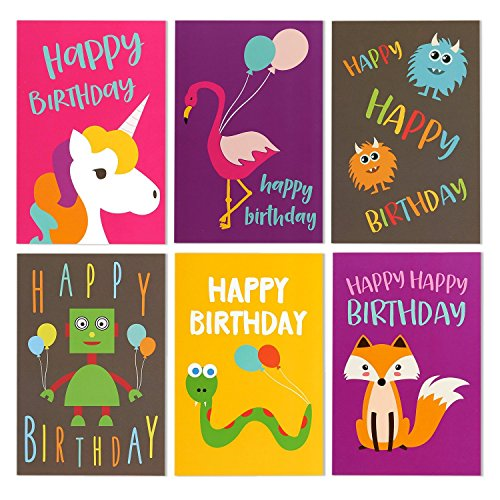 48 Pack Children Birthday Cards Unicorn, Flamingo, And
