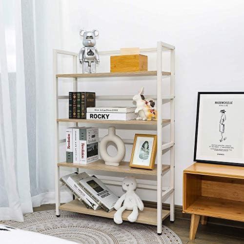Mu 4-Tier White Bookshelf Open Display Shelf Storage