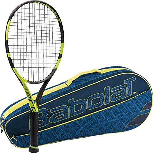 Babolat Pure Aero 25 Inch Junior Tennis Racquet (Black/Yellow) bundled with a Blue/Yellow Club 3 Pack Tennis Bag