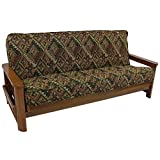 Blazing Needles Patterned Tapestry Double Corded 8'' to 9'' Futon Cover, Full, Zen Dream Black with White