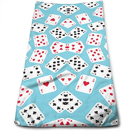 MHKLTA in Wonderland Playing Cards Bath Towels for Hotel-Spa-Pool-Gym-Bathroom - Super Soft Absorbent Ringspun Towels