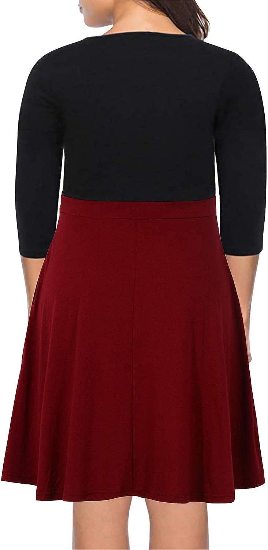 Nemidor Womens Casual 3//4 Sleeve Fit and Flare Dress Plus Size Button Down Vintage Swing Midi Dress NEM217