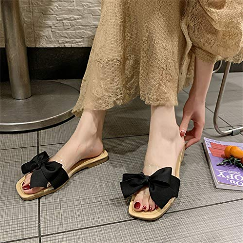 Mother's Day Sale! Jiayit Women Slip on Slipper Shoes Bow Knot Sandals Summer Fashion Leisure Sliders Flat Flip Flop Slipper by Jiayit Shoes Clearance (Image #1)