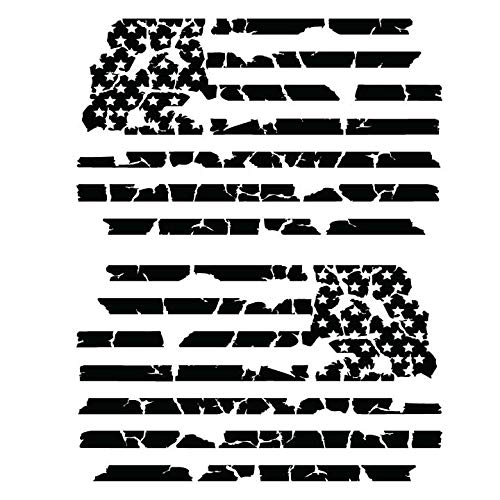 Bamfdecals USA Subdued Tattered Flag Detailed Automotive Grade Die-Cut Vinyl Decal - Large - Black
