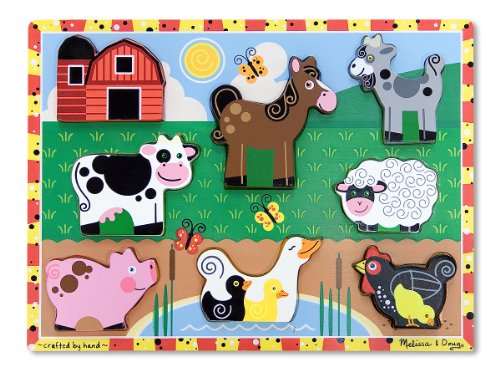 [Melissa & Doug Farm Wooden Chunky Puzzle (8 pcs)] (Animal That Starts With J)