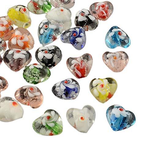 ARRICRAFT 100pcs Handmade Luminous Bumpy Lampwork Beads Heart Shape Loose Beads for Bracelet Jewelry Making, Mixed Color - Bumpy Beads Lampwork