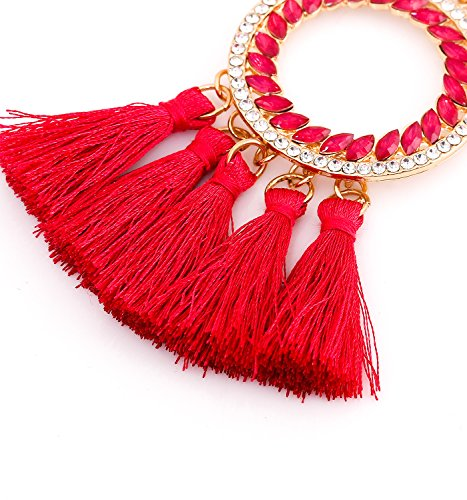 PHALIN JEWELRY Long Chain Necklace Crystal Circle Pendant Necklaces Delicate Bohemia Tassel Necklace for Women Girls by PHALIN JEWELRY (Image #4)