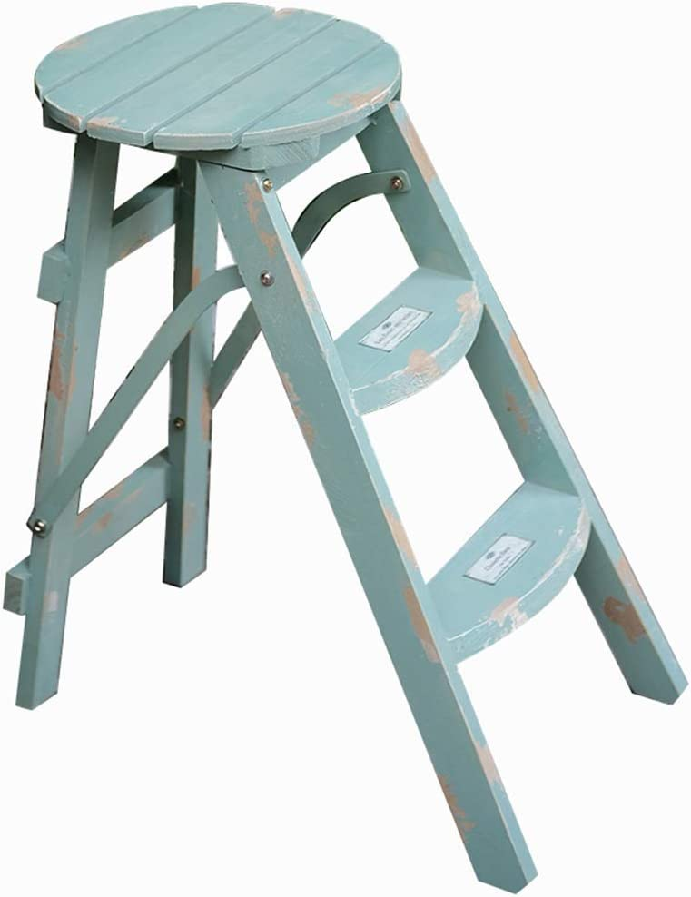 WGEMXC Step Stool, Household Folding Stool, Multifunctional Stools,Ladder Flower Stand Flower Stand Retro Home Flower Bench Wooden Flower Ladder Garden Flower Stand Folding Flower Bench Gift,Green,53
