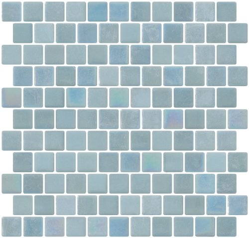 Susan Jablon Mosaics - 1 Inch Sky Blue Glow in the Dark Recycled Glass Tile Reset In Offset Layout (Glow In The Dark Glass Mosaic Tile)