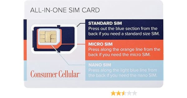 Consumer Cellular - All-in-One SIM Card – at&T - White