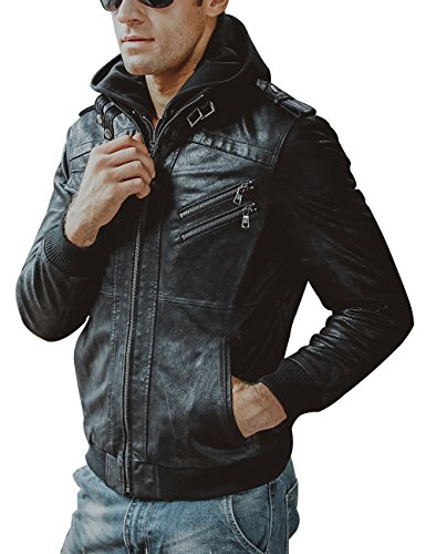 FLAVOR Men Brown Leather Motorcycle Jacket With Removable Hood (CN Medium, Black)
