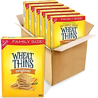 Wheat Thins Original Whole Grain Wheat Crackers, 6 - 16 oz Family Size Boxes