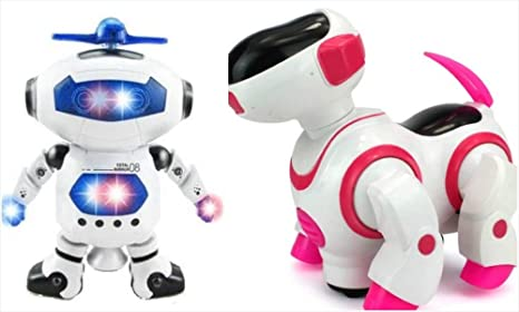 Amazon Com Kids Robot Toy Lights Spin Musical Dancing 2 Pack Dog