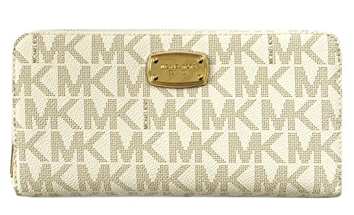 Michael Kors Jet Set Travel Zip Around Travel Wallet - Vanilla - Clear Mk Bag