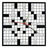 "DCI Powder Coated Metal Crossword Puzzle Clock, 11-1/2"" Square"