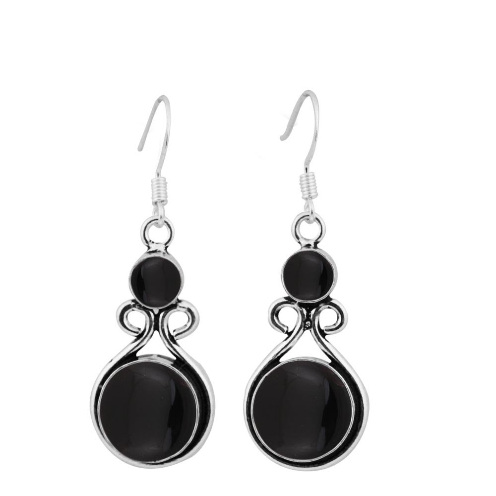 15.00ctw, Genuine Black Onyx & 925 Silver Plated Dangle Earrings Made By Sterling Silver Jewelry