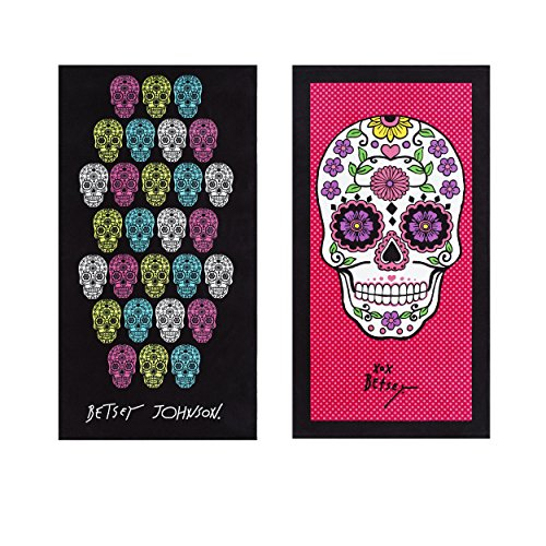 "Betsey Johnson Skull Fiesta Beach Towel Set, 66""x35"", Assorted"