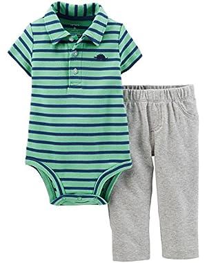 Baby Boys Green Stripe Polo Bodysuit & Sweat Pants Set!