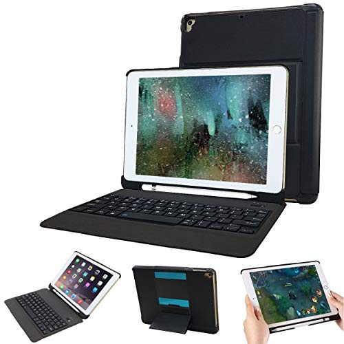 Keyboard Pencil (iPad Keyboard Case 9.7 for iPad 2018 (6th Gen)/iPad 2017 (5th Gen)/iPad Pro 9.7/iPad Air 2 & 1 with Pencil Holder-Thin & Light-Two in One Detachable Bluetooth Wireless Keyboard case (Black))