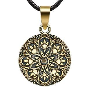 Eudora Harmonie Balle Muguet Vintage Pendentif Femmes Collier Fleur Bijoux Beau Cadeau Doux Carillon Bola, 76.2cm…