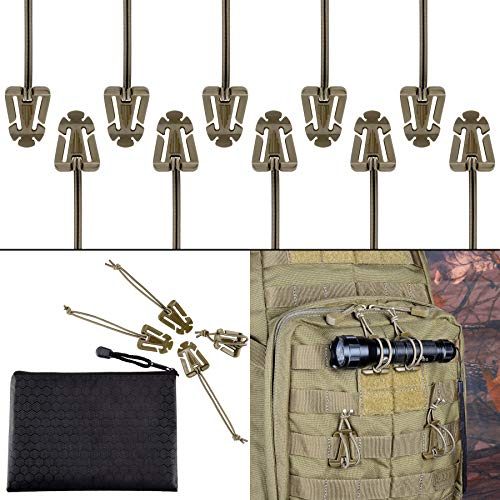 BOOSTEADY Pack of 10 Tactical Gear Clip Molle Web Dominators for Outdoor Hydration Tube Backpack Straps Management with Zippered Pouch