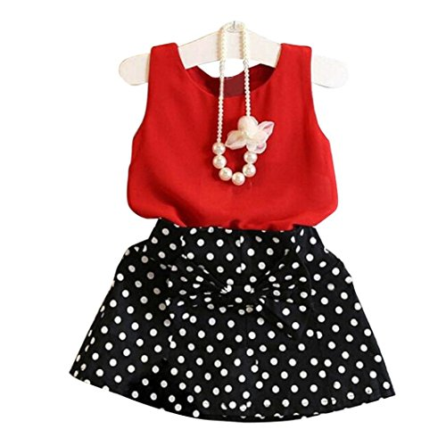(2018 Children Girls Chiffon Sleeveless Vest Top + Short Pleated Dress 2Pcs Set Skirt Suit 1-6 Years (Red, 2-3Years))